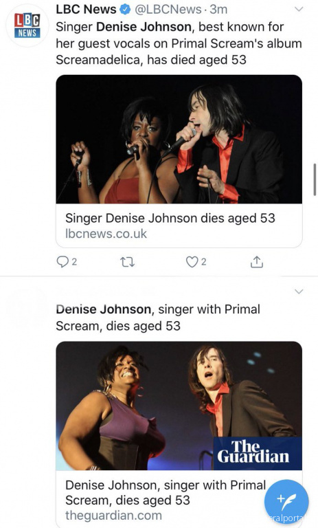 Denise Johnson, singer with Primal Scream, dies aged 56 - Похоронный портал