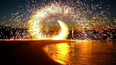Steel Wool Fireworks on the Beach