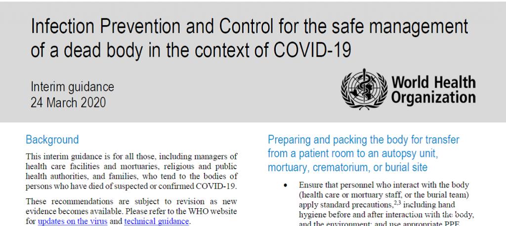 Рекомендации ВОЗ по обращению с COVID-19 телами при организации похорон  - Похоронный портал